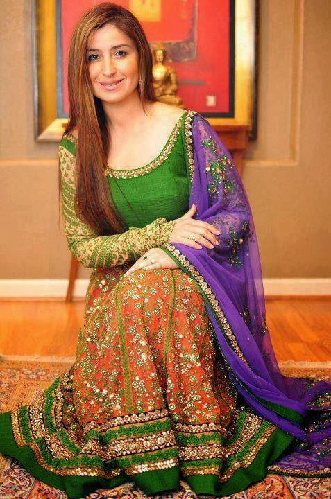 Exclusive Bridal Mehndi Dress Collection 2014 Mayoon Frills