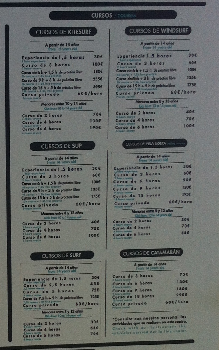 courses prices - 2015