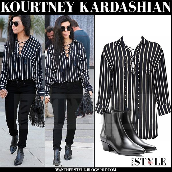 Kourtney Kardashian in black striped shirt and skinny jeans what she wore streetstyle