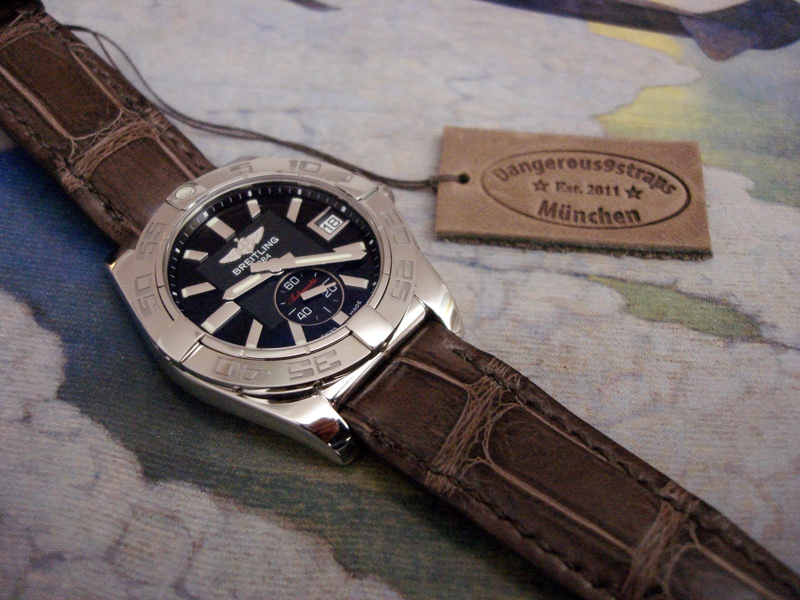 Anjelika's Breitling Galactic 38 on Turbe Brune Alligator
