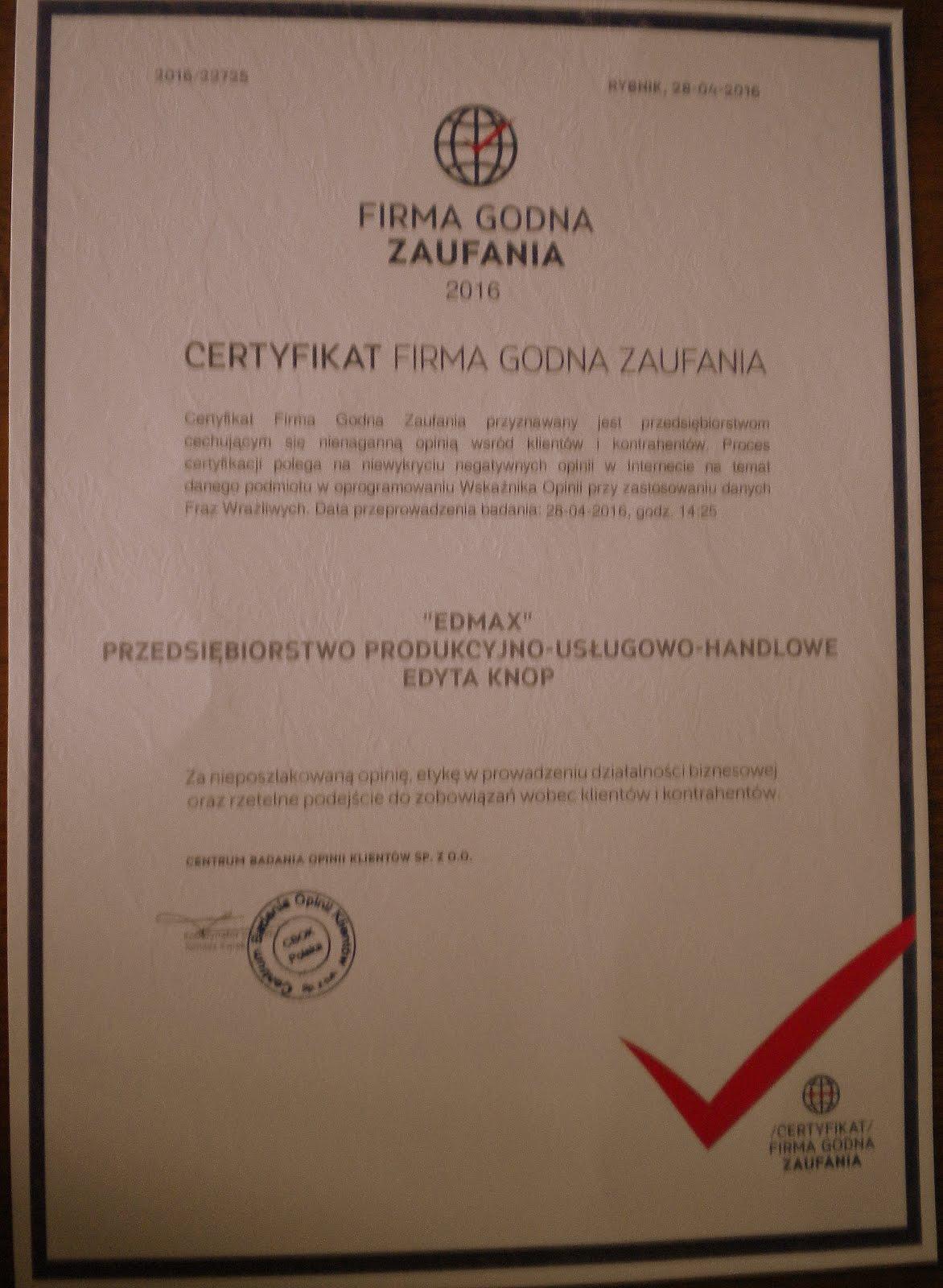 Certyfikat Firma Godna Zaufania 2016 rok