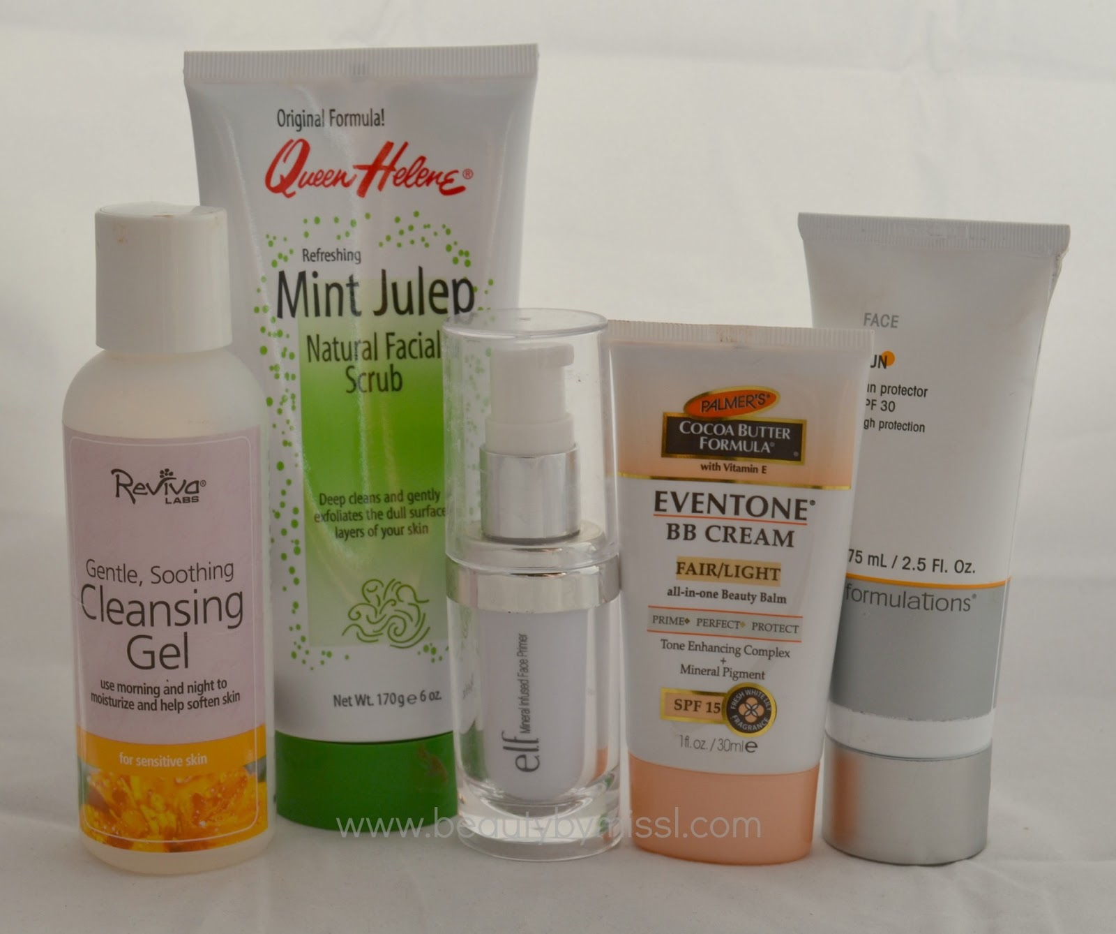 reviva labs, mint julep facial scrub,elf primer, palmers bb cream, md formulations sunscreen