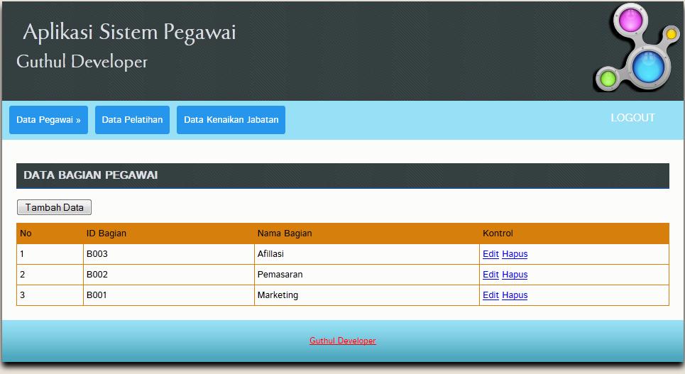 data bagian pegawai - Aplikasi Pegawai Berbasis Web