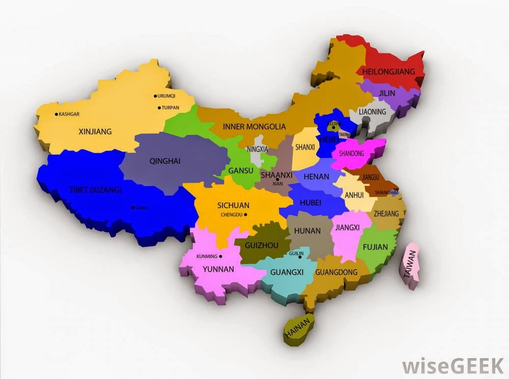 China printable maps of all provinces and administrative regions in color code.
