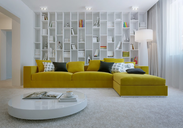 awesome l shaped yellow leather sofa on large white fur rug and behind big white bookshelf combined with white polished coffee table also white transparent standing lamp