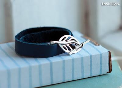 украшения, бижутерия, браслет, кожа, кожаный браслет, синий