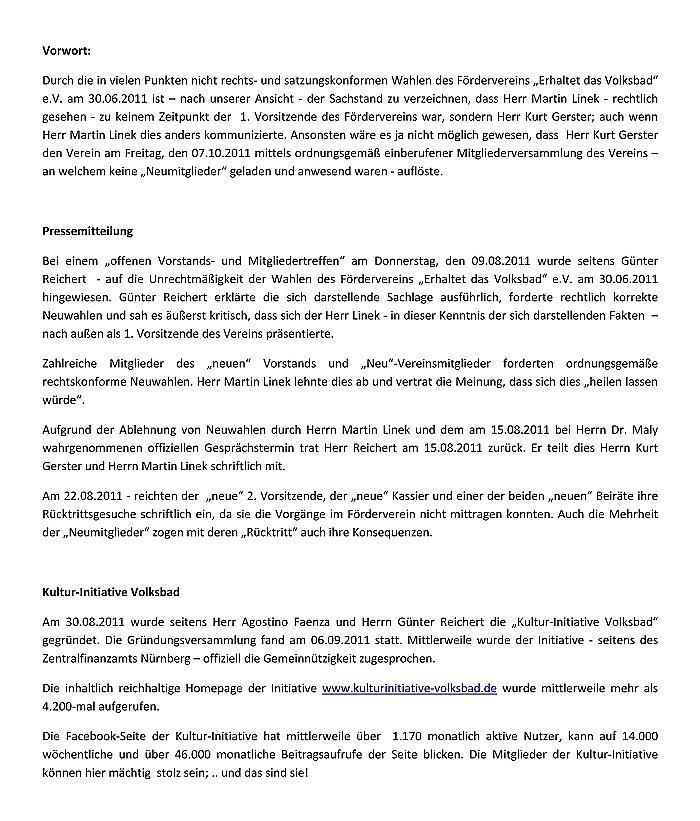 """pressemitteilung der KIV zur auflösung des fördervereins """"erhaltet das volksbad"""" e.v. am 07.10.2011"""