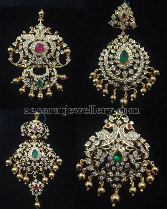 Closed setting diamond pendants jewellery designs rose cut round diamonds adorned floral pendant set studded with emeralds rubies all over small gold beads hanging in the bottom aloadofball Choice Image