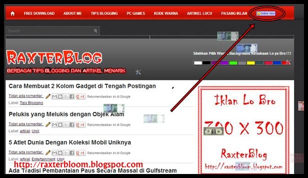 Cara Membuat Yahoo Online di Blog raxterbloom.blogspot.com