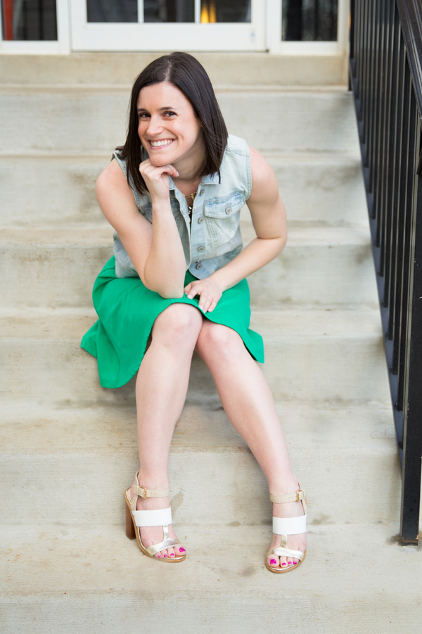 Maryland, Frederick, Express, green dress, Express green dress, Target denim vest, light denim vest, Shoemint sandals, summer, summertime, summer outfit, fit & flare dress, warm weather outfit, statement necklace, Pearly Kate Photography