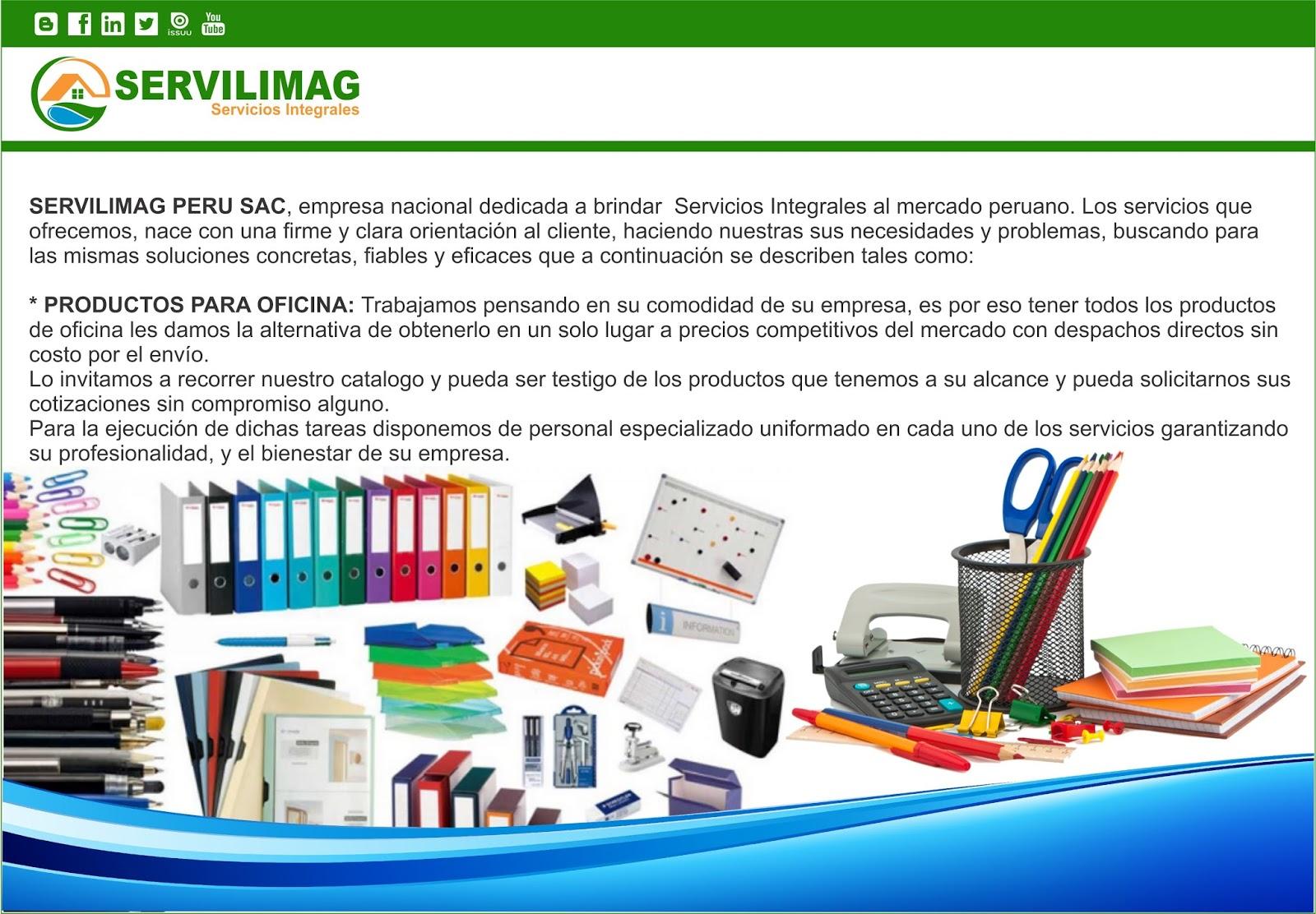 Servilimag servicios integrales venta productos de for Productos oficina