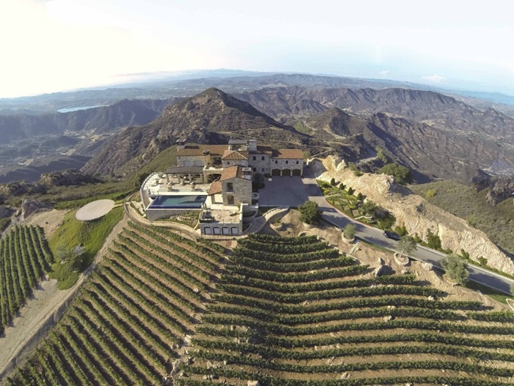 Mediterranean style vineyards home in Malibu as seen from the air