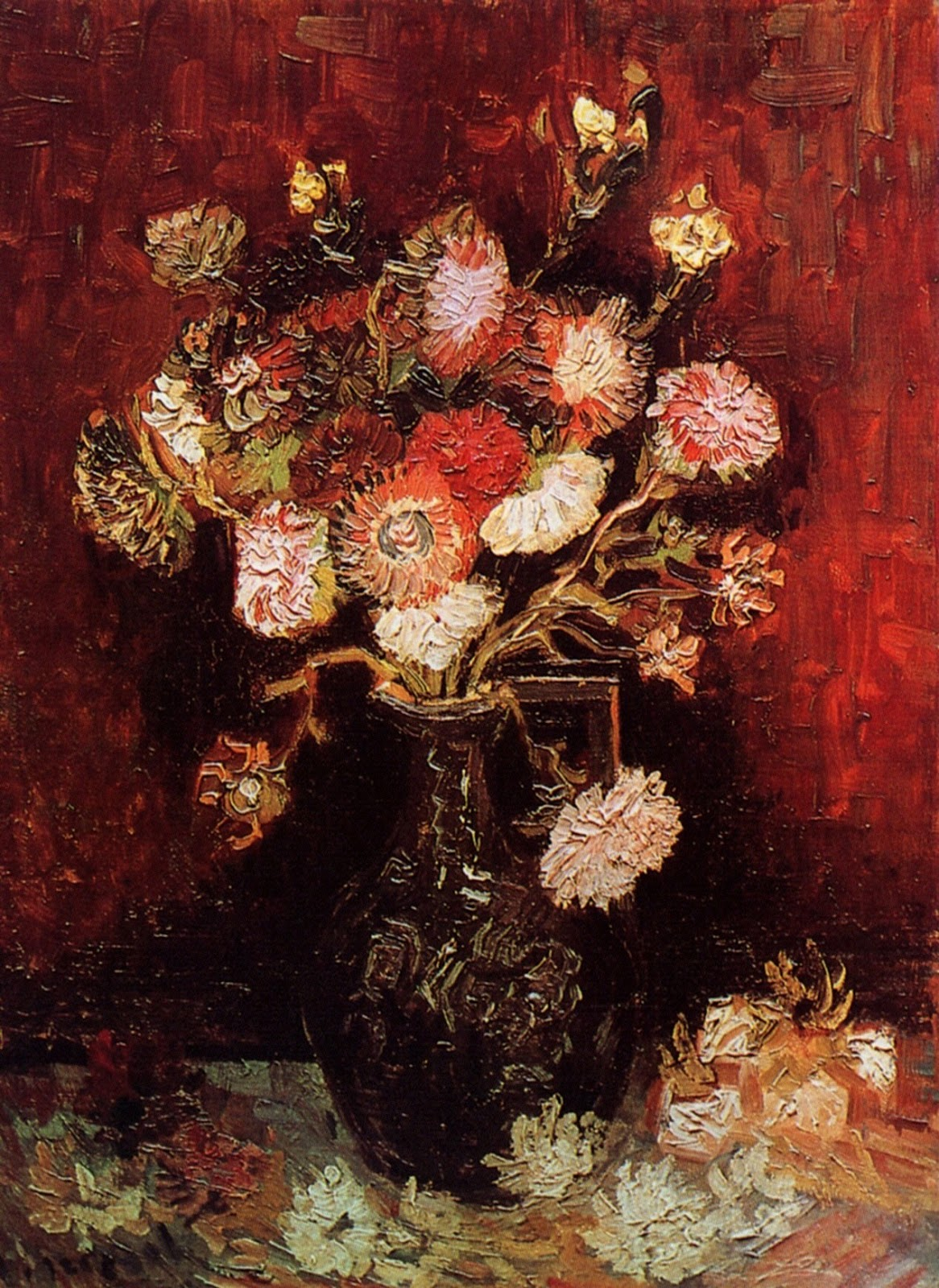 Art artists vincent van gogh flowers part 1 1886 vase with asters and phlox oil on canvas 61 x 46 cm reviewsmspy