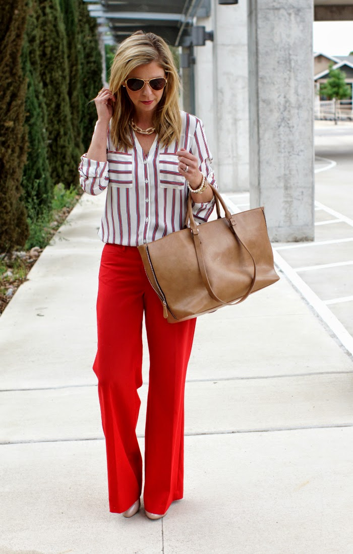 Red wide leg pants outfit idea