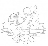 """""""risco bebe com patinho e ursinho para pintar"""""""