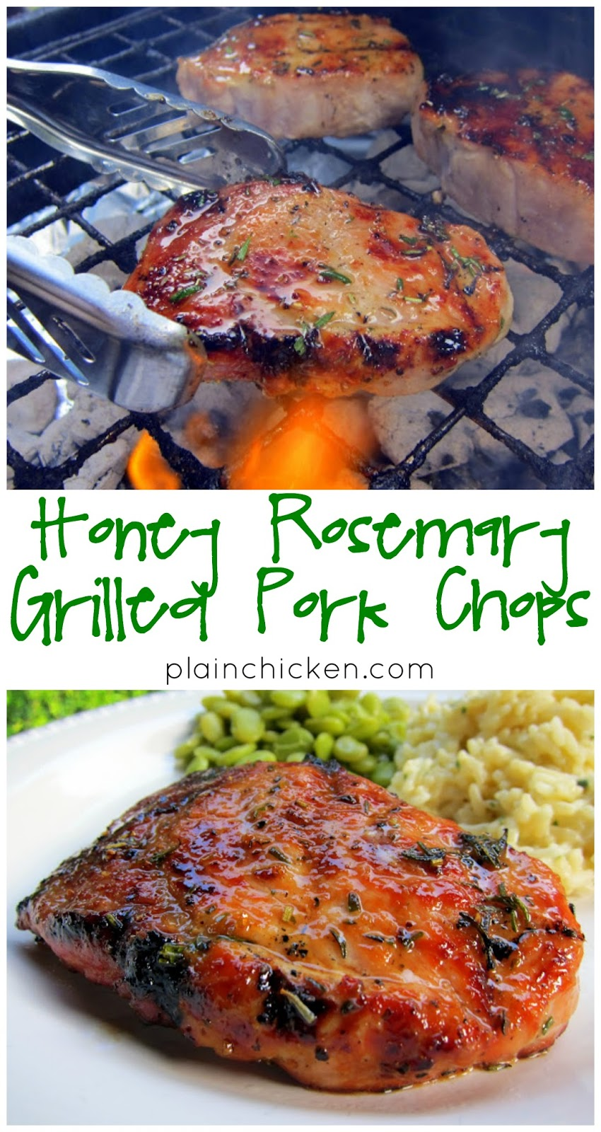 Honey Rosemary Grilled Pork Chops - pork brushed with honey, olive oil, and fresh rosemary. I prepped the meat while the grill heated up.  It only took a few minutes. The pork chops were tender, juicy and packed full of flavor.  The rosemary was so fragrant, and the honey added the perfect touch of sweetness.