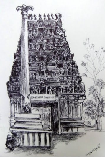 Ulsoor someswara temple bangalore sketch