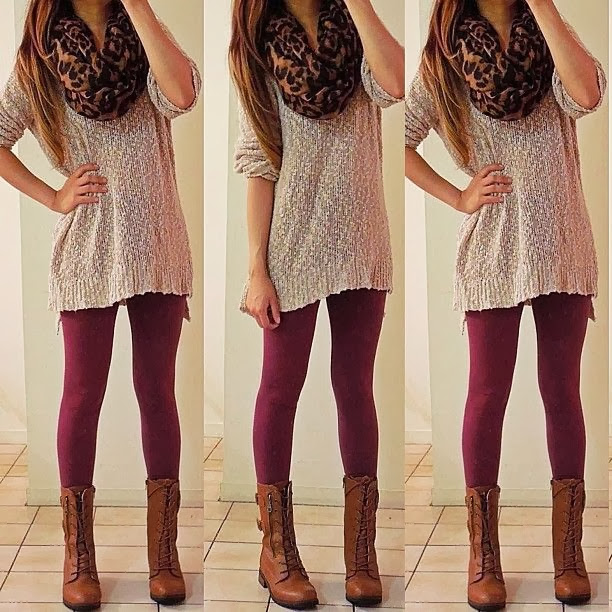 Cheetah skin scarf, shirt, purple leggings and brown long boots for fall