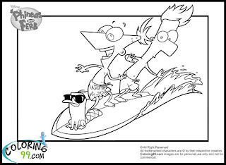 phineas and ferb perry surfing coloring pages