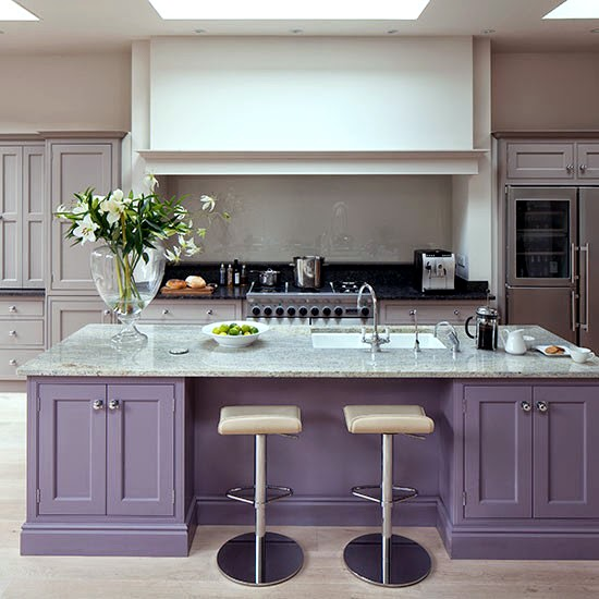 Pale Grey And Purple Island Kitchen Beautiful Kitchen House to Home