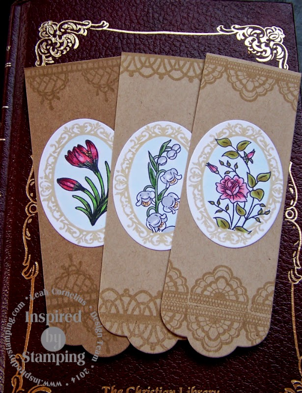 Inspired by Stamping, Leah Cornelius, Garden Seed Packets stamp set, Delicate Doilies II stamp set, Lily of the Valley stamp set, Fancy Labels 3 stamp set, bookmark