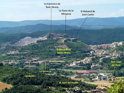 Vista de Cardona i el Castell des de la Costa de Segalers