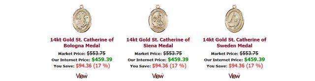 Patron Saints Medals Gold at RealCatholic.Com