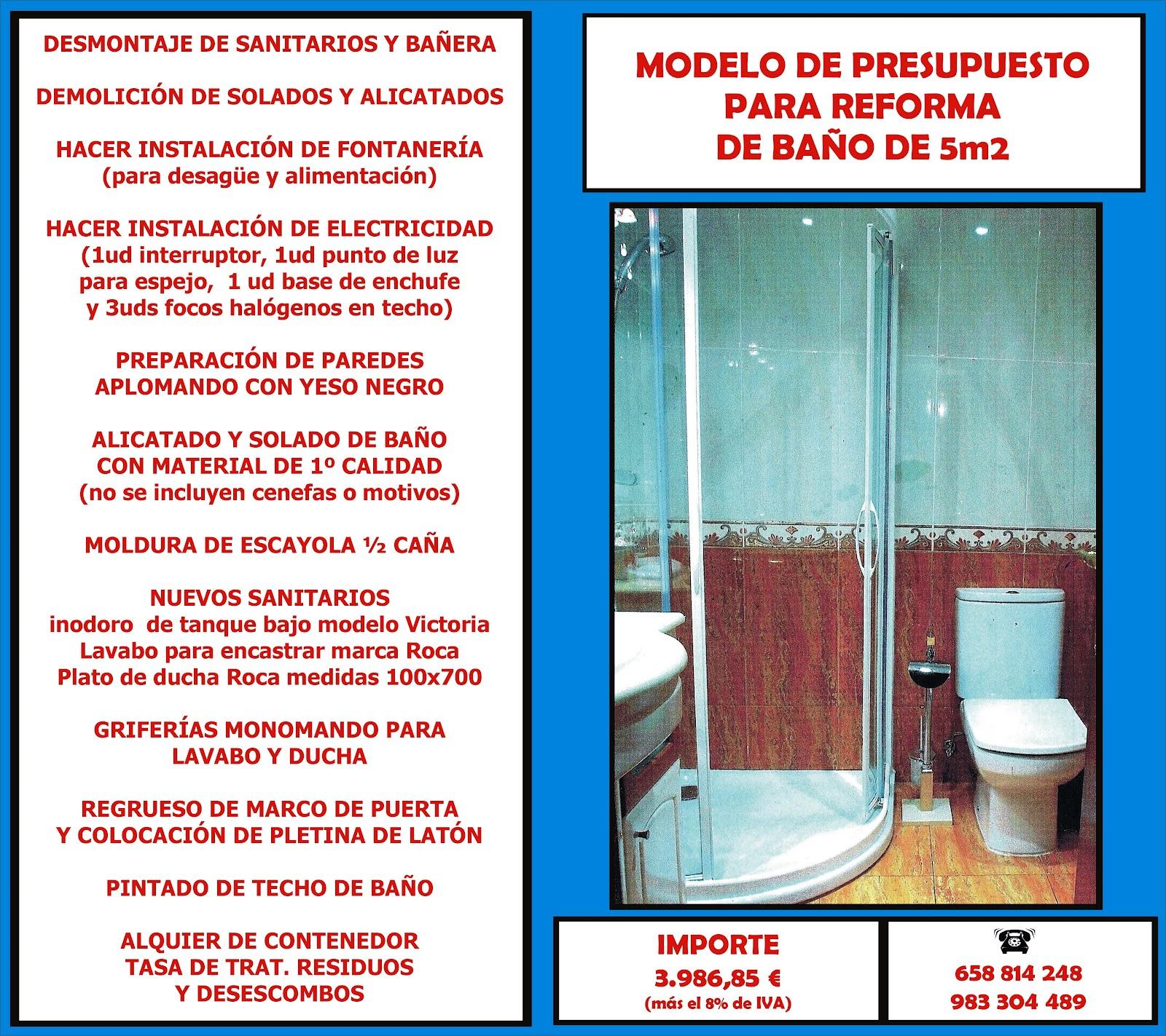 Castellana De Reparaciones Ejemplos De Presupuesto ~ Ejemplo De Un Presupuesto Reforma Baño