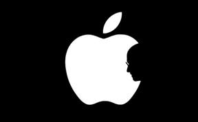 Apple Logo with Steve Jobs silouette