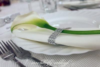 dekoracja serwetki na ślub kalia