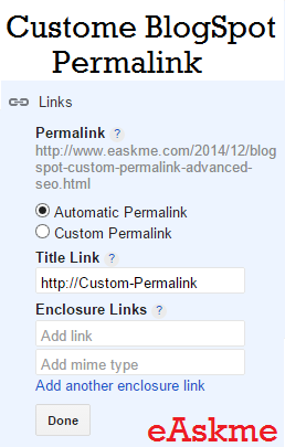 Custom Permalink Blogspot Advanced SEO : eAskme