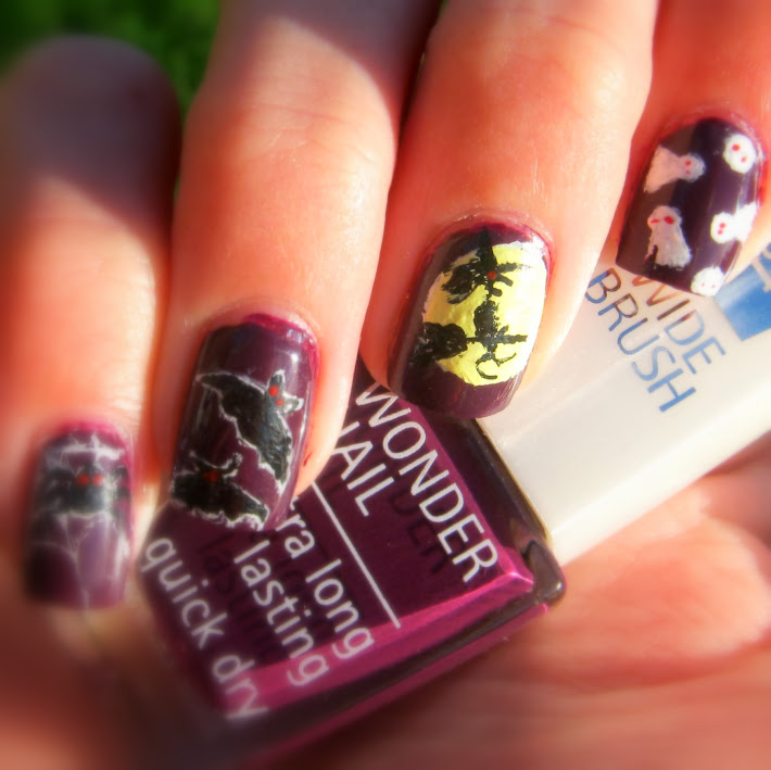 Holloween Nail art, Heks, Witch, gost, bats, spider - Isadora Purple Reign - Nice Nails by Astrid