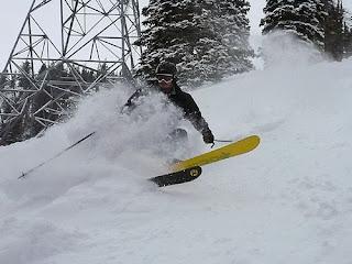 Chris Becker gets into the deep at Snowbird Resort