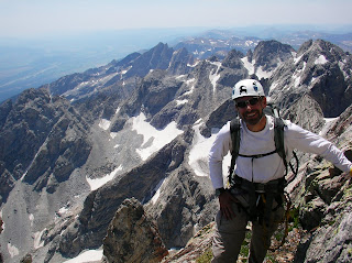 Mike Dawson on the East Ridge of the Grand Teton, Wyoming
