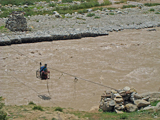 Trekking to India's Miyar Valley includes some river crossings