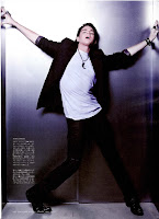 Adam Lambert Japanese Rolling Stone photo moaning in lift elevator