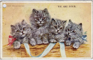 We Are Four, Blue Persian Kittens, Mabel Gear vintage postcard