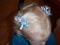 Pink and blue argyle bow hair clip set