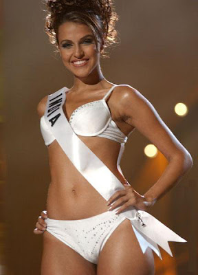 Neha Dhupia in Bikini at Miss Universe 2002 Swimsuit round