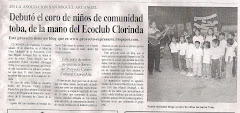 Debut el coro de nios de comunidad toba, de la mano del Ecoclub Clorinda