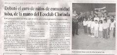 Debutó el coro de niños de comunidad toba, de la mano del Ecoclub Clorinda