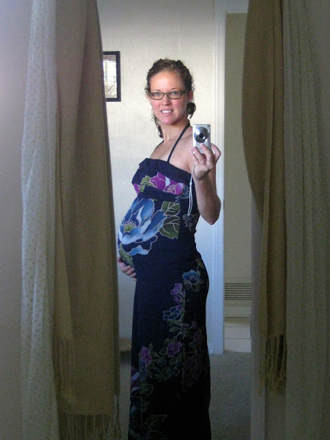27 weeks pregnant, self-portrait