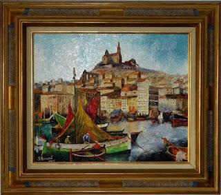 tableau - le port de marseille - réalisé en 1981.