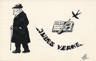 dessin à l'encre représentant jules verne