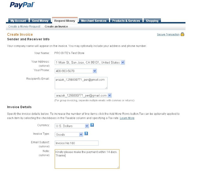 Internet Marketing Paypal Invoicing Send Profesional Business - Create invoice email