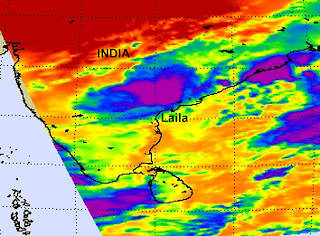 The Atmospheric Infrared Sounder instrument on NASA's Aqua satellite captured an image of the waning Laila over southeastern India on May 21 at 3:53 a.m. EDT. The purple indicates remaining strong thunderstorms.