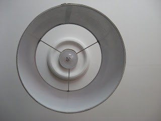 alternative image of DIY pendant light and ceiling medallion from directly below lightbulb