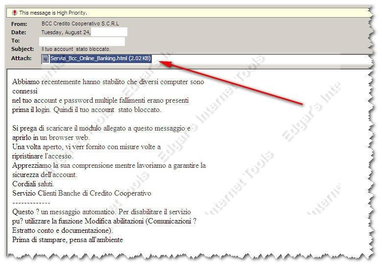Edgar 39 s internet tools phishing bcc banche di credito for Banche di credito cooperativo
