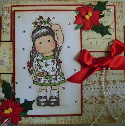 MAGNOLIA TILDA, LOVELY TILDA HOLDING HOLLY,,CHRISTMAS CARD