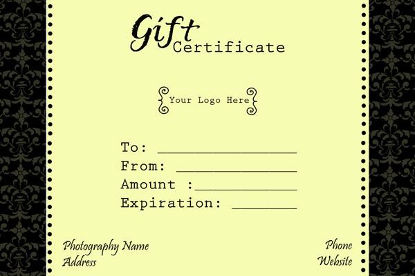 gift certificate wording